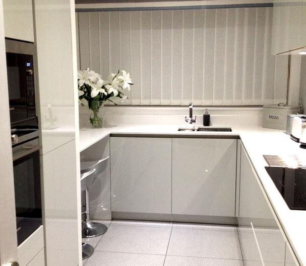 Schuller Uni Gloss German Kitchen in Crystal Grey