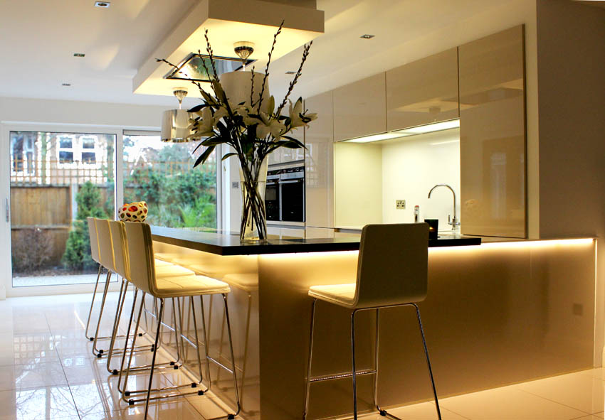 Champagne High Gloss Handle-less Kitchen in Formby Liverpool