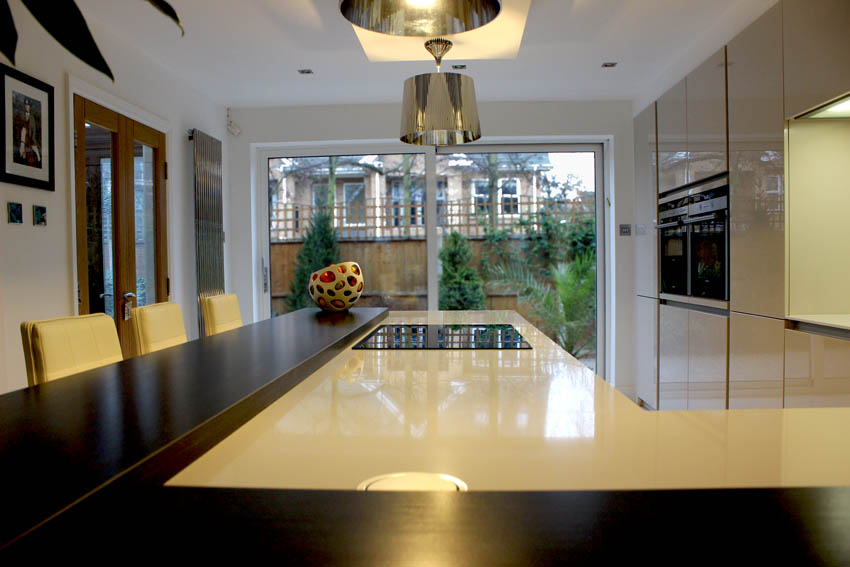 Champagne high gloss handle-less kitchen in Formby Liverpool 3