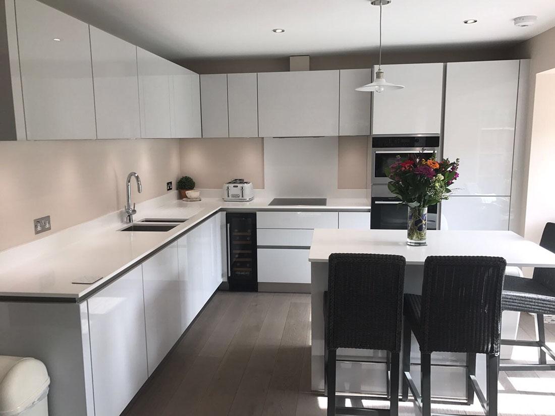 Schuller Kitchens Next 125 Door in NX501 Crystal Grey High Gloss