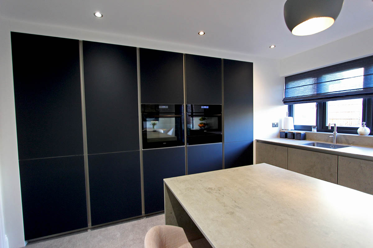 Next 125 Glassline kitchen Indigo Blue & Ceramic