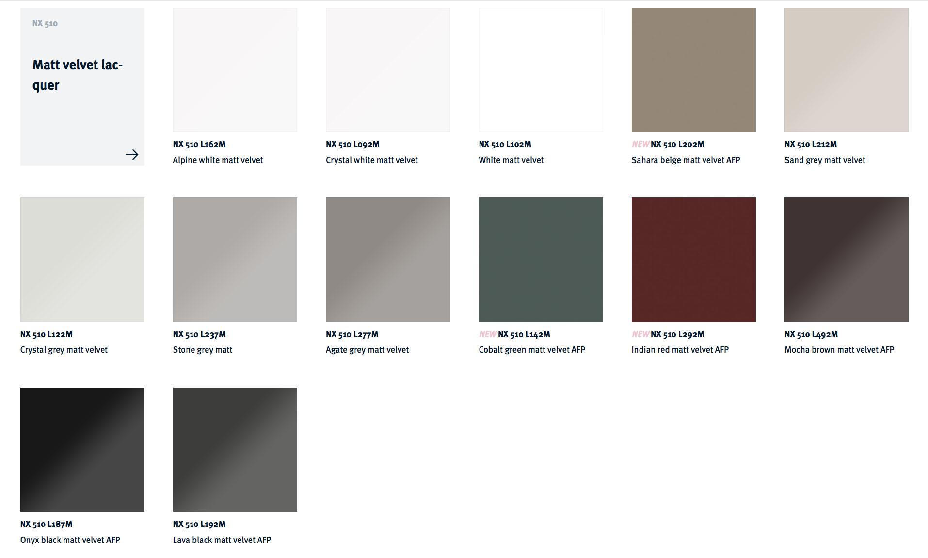 NX 510 Matt AFP colour choices