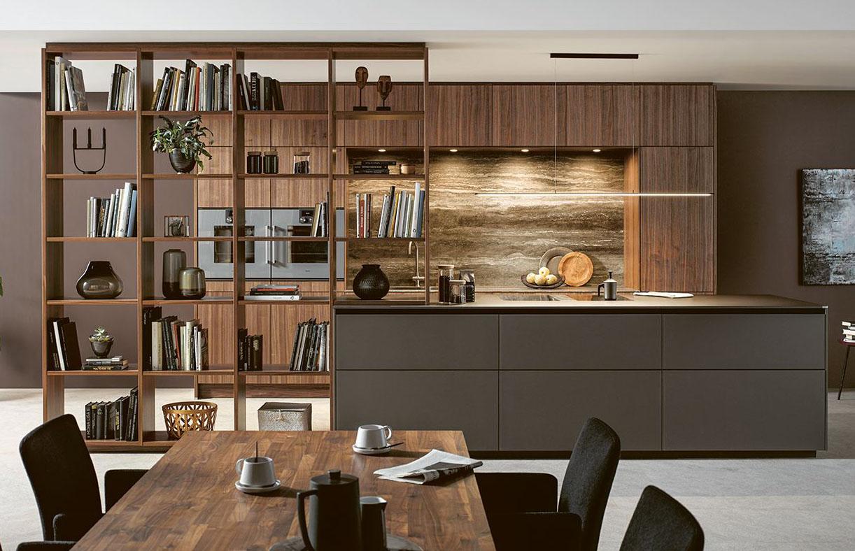 Next125 NX870 kitchen style in Fenix Mocha Brown fine Matt & Natural Walnut