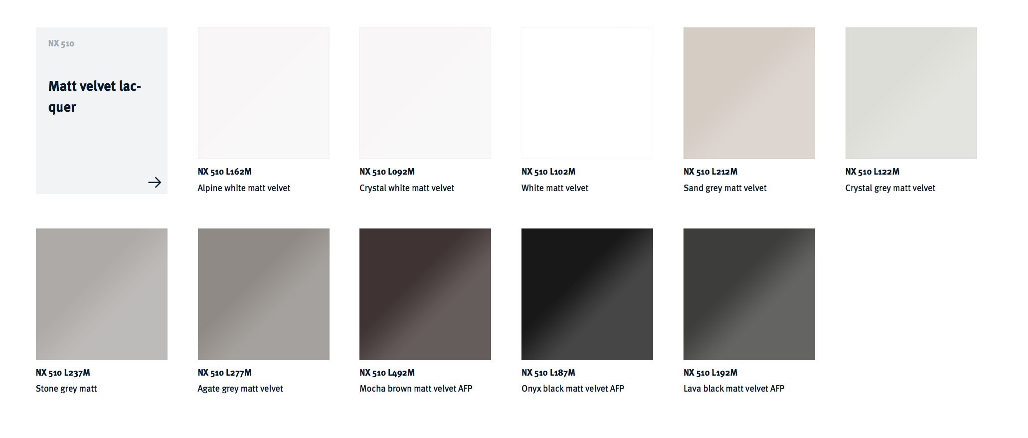 NX 510 Matt Velvet Colour Choices
