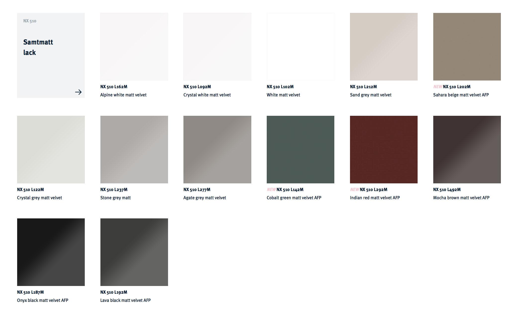 next125 kitchens NX 510 colour choices