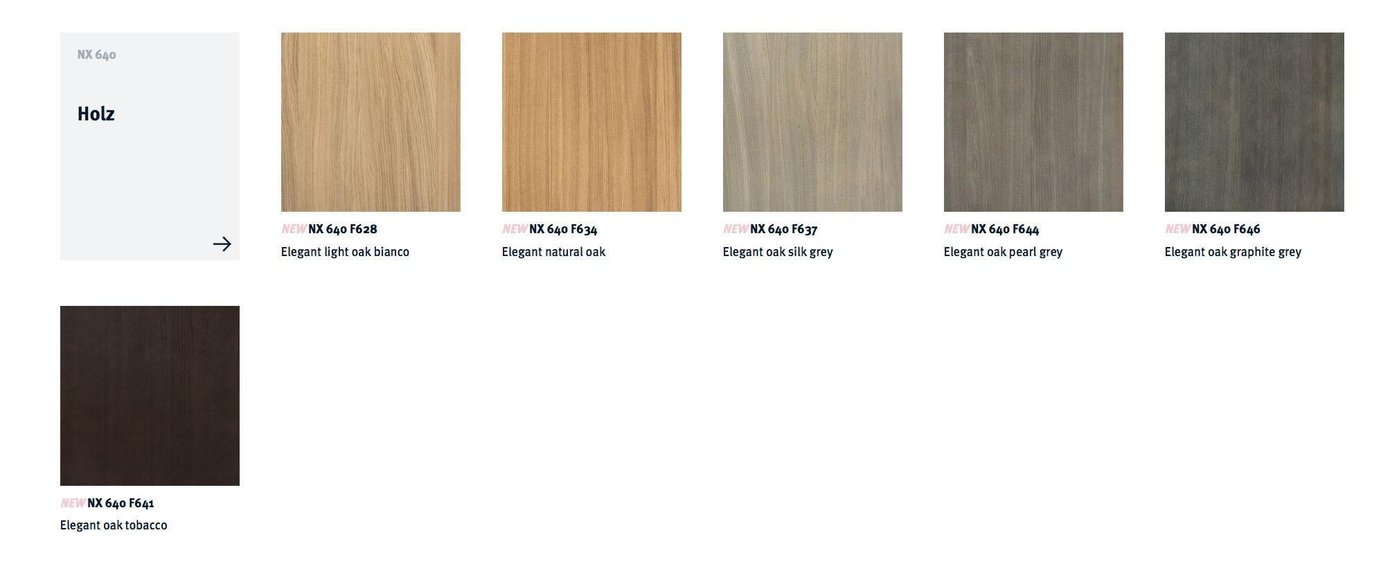 next125 kitchens - nx640 colour choices