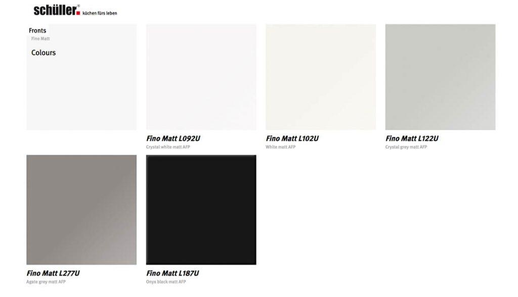Schuller Fino Matt Door Colour Choices